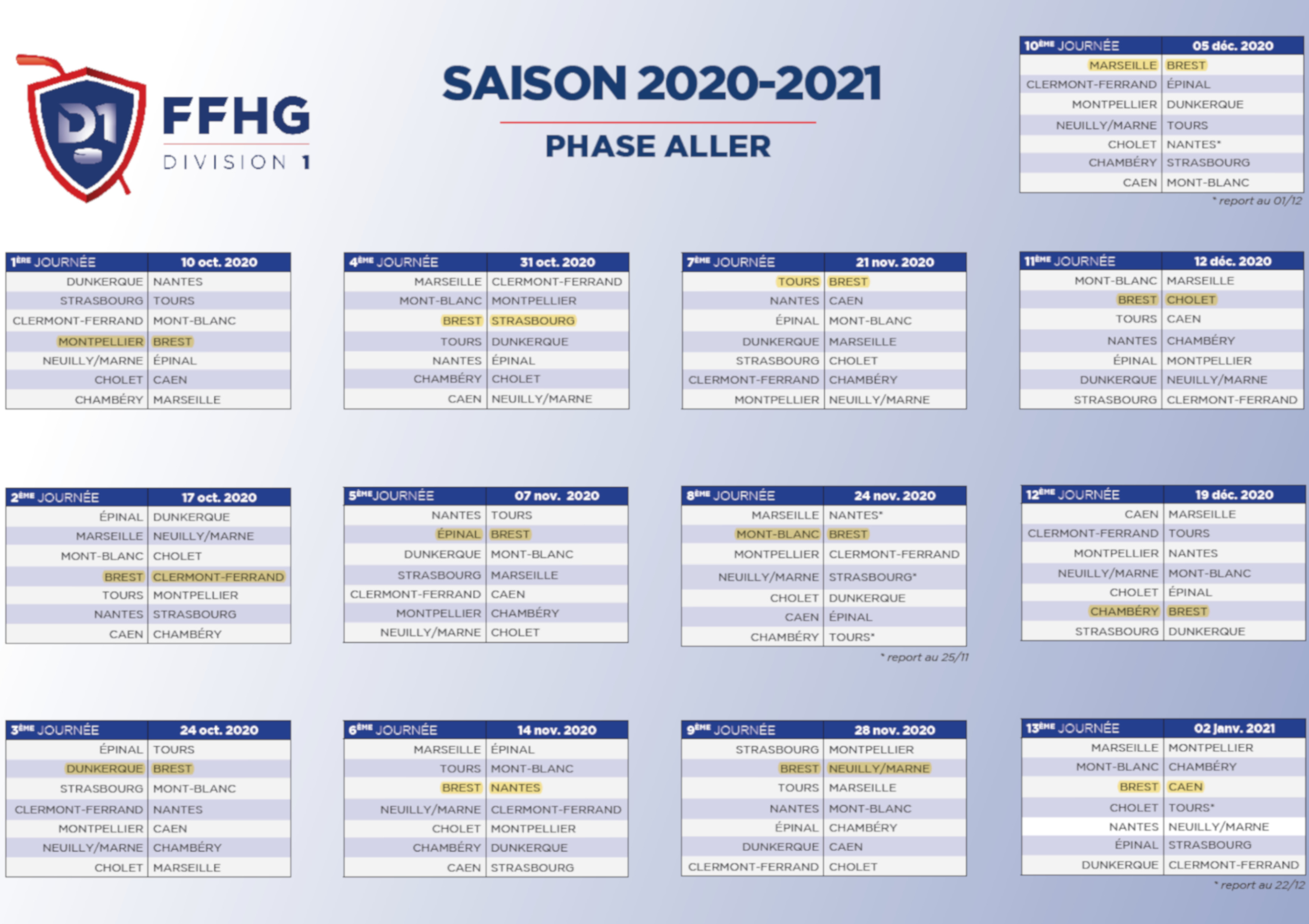 Calendrier D1 2020-2021 phase aller